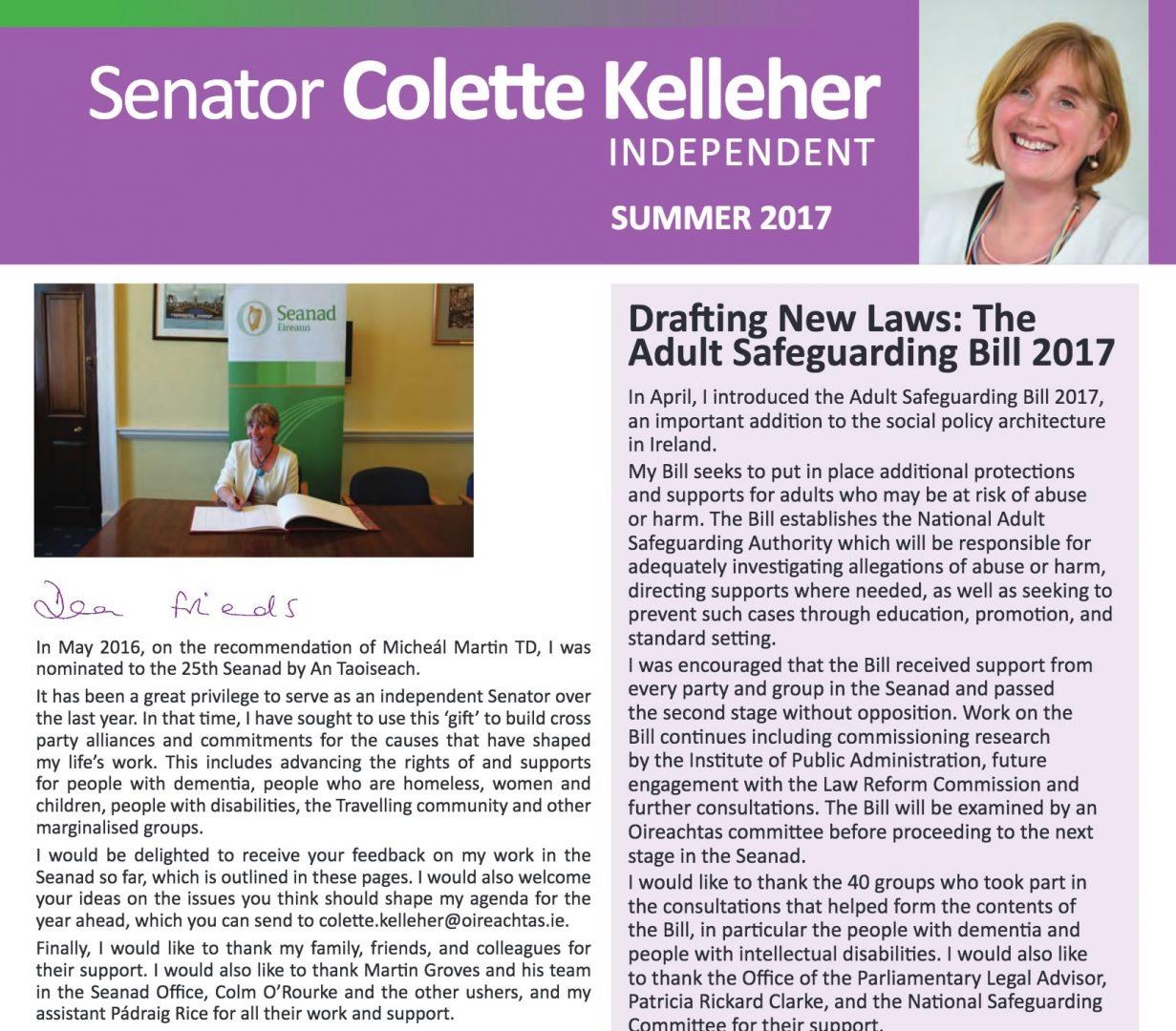 Colette Kelleher's Summer 2017 Newsletter
