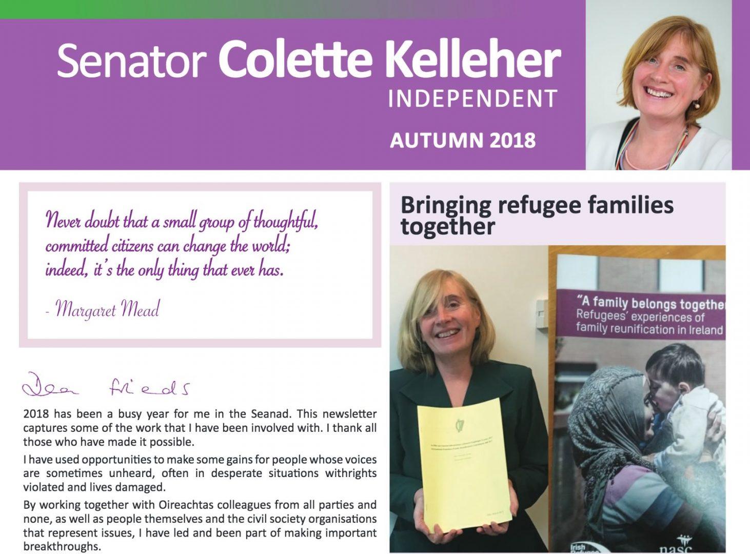 Colette Kelleher's Autumn 2018 Newsletter